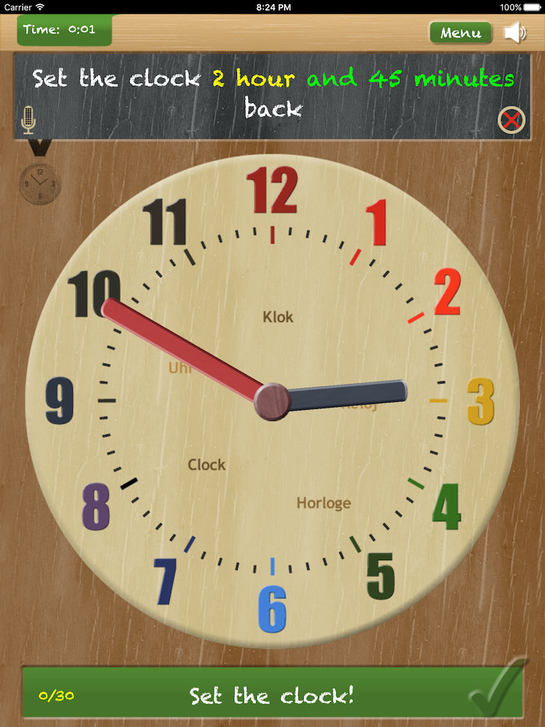 Thumbnail: Set the clock - telling time on iPad App - game type 'Set the clock forward and backward'