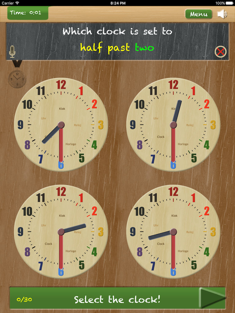 Thumbnail: Set the clock - telling time on iPad App - game type 'Which clock is set to'