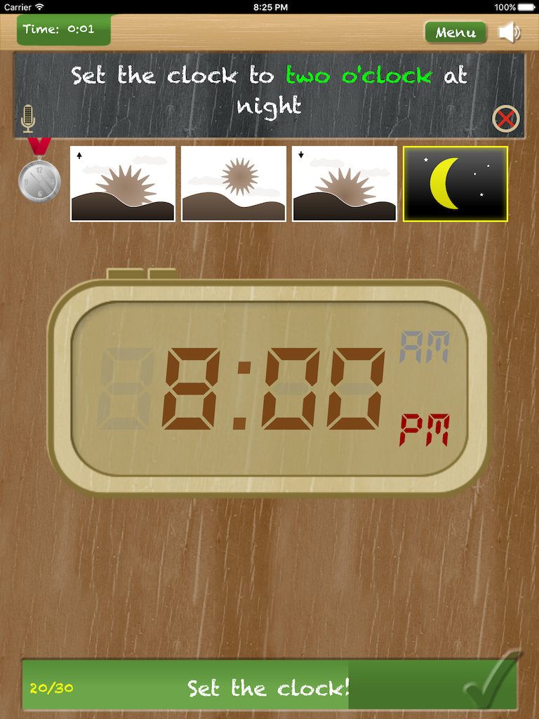 Thumbnail: Set the clock - telling time on iPad App - game type 'Set the clock - digital'
