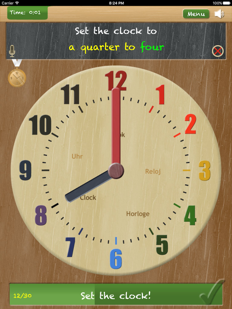 Thumbnail: Set the clock - telling time on iPad App - game type 'Set the clock'