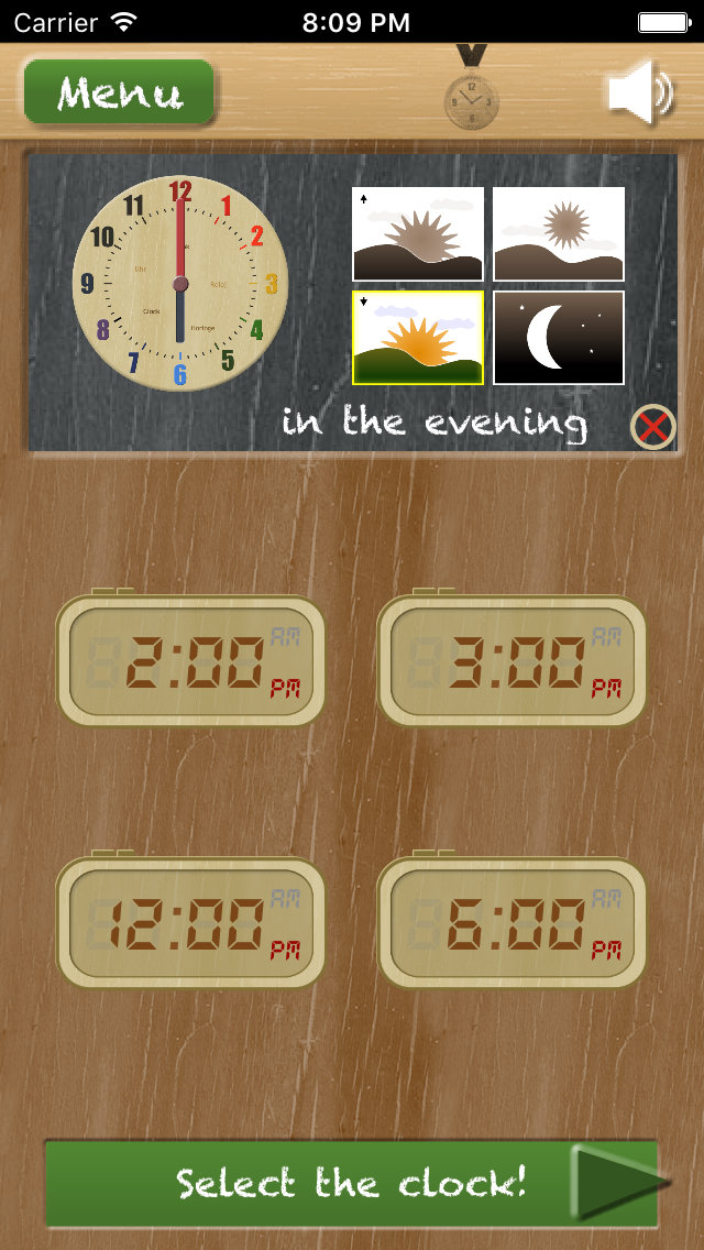 Thumbnail: Set the clock - telling time on the iPhone - game type 'Compare an analog and digital clock'