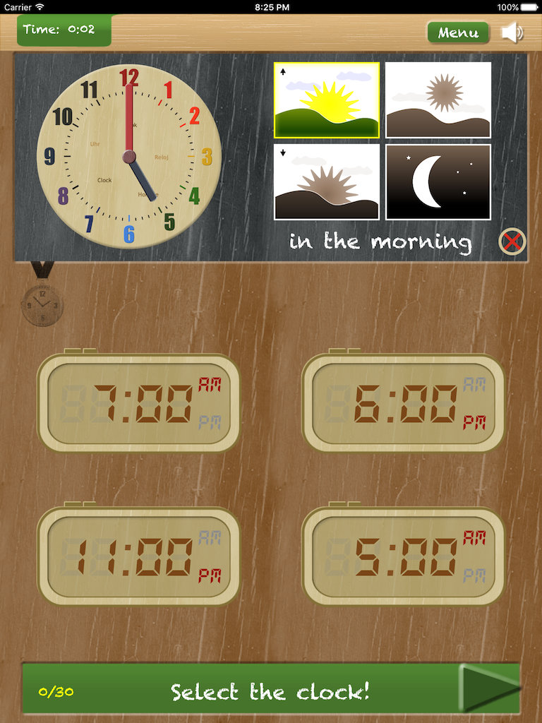 Thumbnail: Set the clock - telling time on iPad App - game type 'Compare an analog and digital clock'